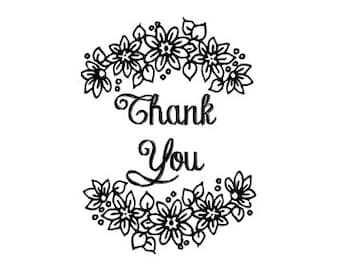 Whimsical floral Thank You rubber Stamp