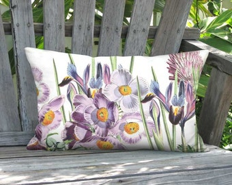 12x20 Inch - READY TO SHIP - Linen Cotton Violet Garden Party Lumbar Pillow Cover - Orchid Pink Lavender Flower Cushion Cover