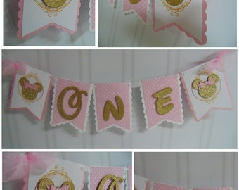 Minnie Mouse pink and gold Petite party package 1st birthday