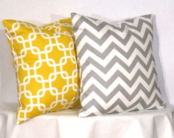 """20"""" Decorative Pillows 1 Grey and White Chevron Zig Zag and 1 Yellow and White Gotcha Pillow - 20 x 20 inch square - TWO PILLOW COVERS"""