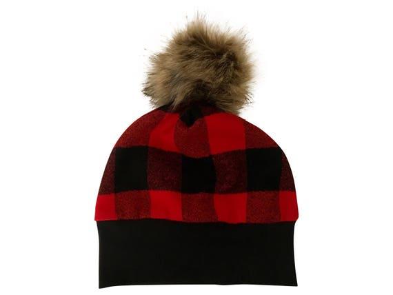 Buffalo Plaid Pom Pom Hat Red Black Buffalo Plaid Flannel Boy Hat Boy Baby Lumberjack Hat Fur Pom Hat Boy Newborn Hat Toddler Hat Winter Hat