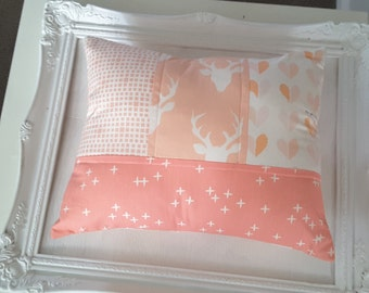 Pink/peach deerhead patchwork cushion