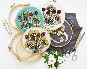 Out of Retirement!  2017 February Flowers Contemporary Embroidery Pattern PDF by Sarah K. Benning