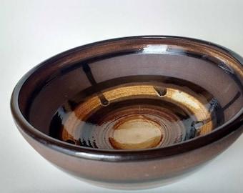 Brown and Gold Chocolate Bowl - Wheelthrown dish, Stoneware bowl, RTS, wheel thrown cup, ceramic mug and dishes, stoneware, dish set