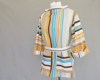 Vintage 1960's Tunic with Boatneck, Vertically Striped Top, Modern Size 8, Small