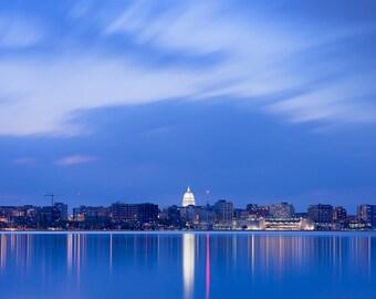 Madison Wisconsin Photography, Madison At Dusk, Wisconsin State Capitol, Madison Skyline