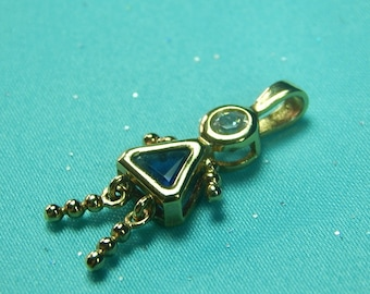 Vintage Sterling Silver Birthstone Baby Girl Charm for Bracelet Jewelry Gift for Her