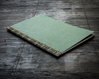 Large Green Softcover Handmade Notebook with Cover Flap, Stitched Binding with Hemp Cord, Lined Recycled Paper, Travel Notebook, Journal