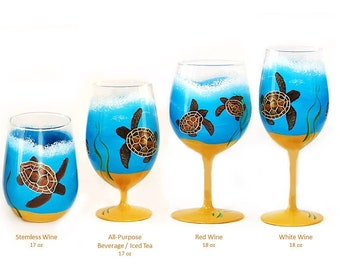 Beach Beverage Set - Sea Turtle Glasses Choice of Glassware Beach Retirement Gift Beach Gift Ideas Summer Wine Glasses Beachy Ice Tea Glass