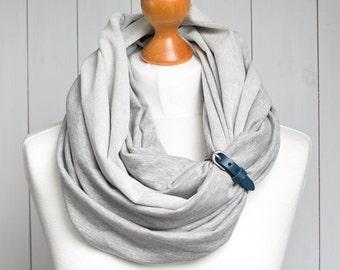 Infinity scarf with leather strap, infinity scarves by ZOJANKA, grey tube infinity scarf, mediumweight scarf, tube scarf, tube shawl