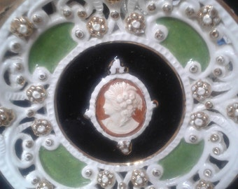 Hand painted cameo plate