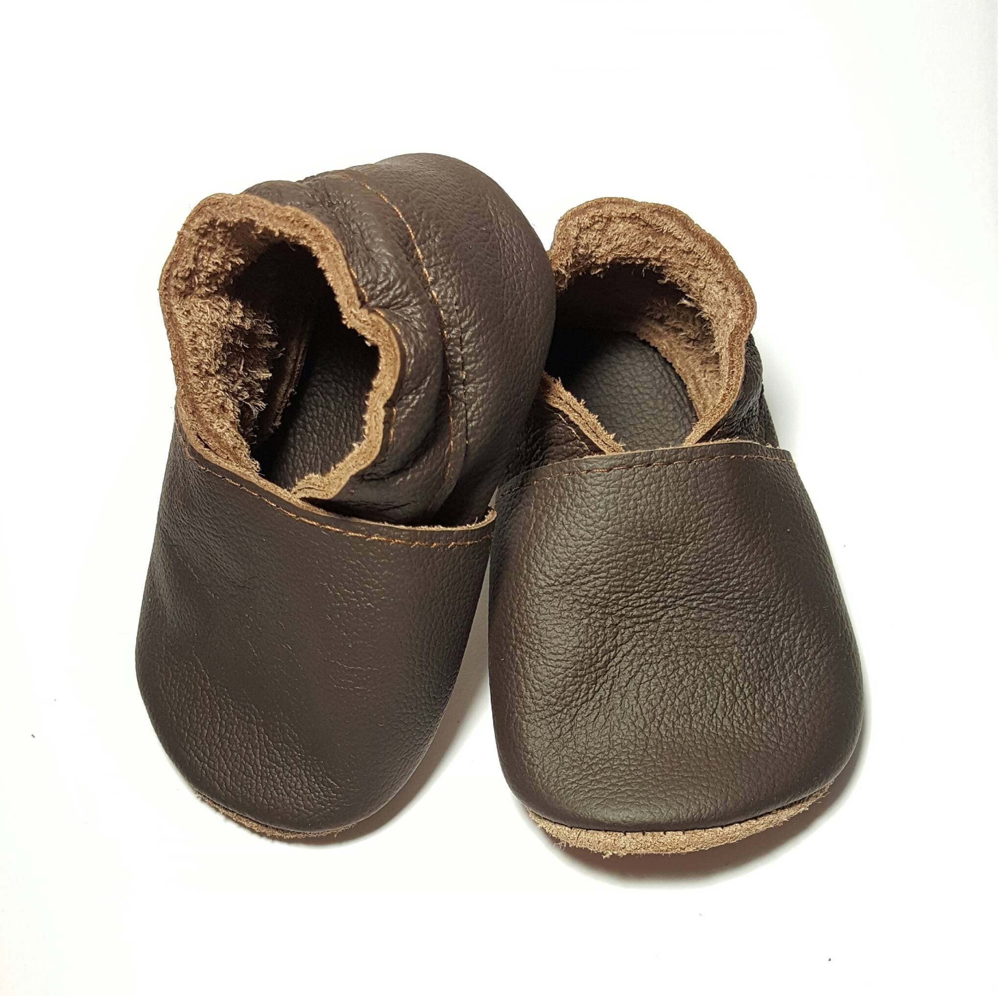 HOT SALE Chocolate brown soft sole leather baby shoes soft
