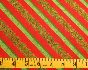 Moda Winter Wonderland Green Pine Red Stripe 23096 11 Christmas Cotton Fabric By the Yard