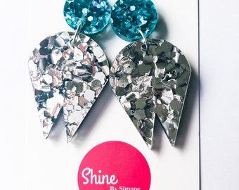 Large Acrylic Earrings , silver earrings , glitter earrings , Statement earrings