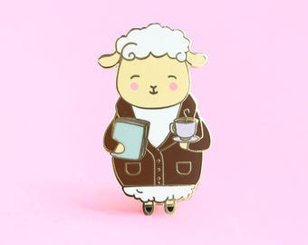 Professor Fluff Pin | sheep pin, cute enamel pin, animal pin, cute animal pin, book pin, tea pin, coffee pin