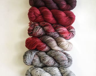 6 Skein Gradient Kit Grey to Red