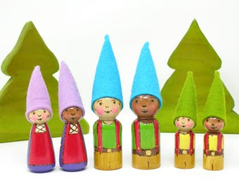 Individual gnome kid-choice of 3 designs, gnome toy, wooden gnome, waldorf gnome, handmade kids toy, painted peg dolls, gnome peg, gnome kid
