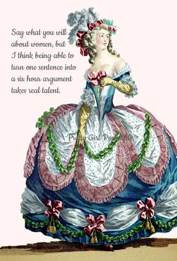 "Strong Woman Postcard Marie Antoinette Card ""Say What You Will About Women..."" Sweet Gift For Her Pretty Girl Postcards Funny Postcard"