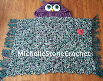 Crochet hooded owl blanket made to order in either child or teen/adult size