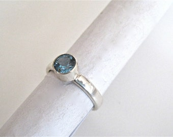 Blue topaz ring, london blue topaz ring, solitaire ring, modern topaz ring, topaz jewelry, December birthstone ring