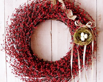 Spring Wreath-Spring Front Door Wreath-Front Door Wreath-Summer Wreath-Red Berry BIRDS NEST Door Wreath-Rustic Primitive Country Home Decor