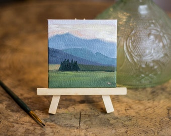 Mini Oil Landscape Painting of Mountains and Field with Mini Easel - Landscape Painting - Oil Painting - Painting - Painting on Canvas