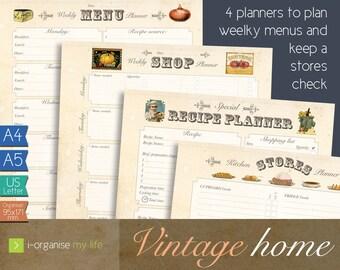 menu planner, diet planner, menu organiser, shopping planner, planner download, recipe organiser, meal planner, kitchen recipe organiser