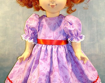 18 Inch Doll Clothes - Purple Bunnies with Red Trim Easter Dress made by Jane Ellen to fit slender 18 inch dolls