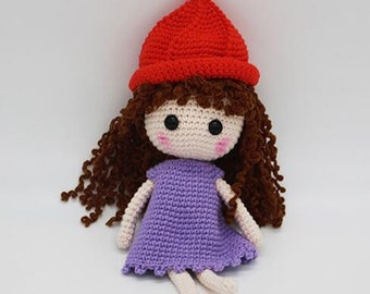 Crochet Doll Amigurumi with Dress and Hat Baby Girl Gift