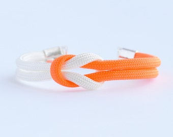 Neon orange and white forever knot parachute cord rope bracelet