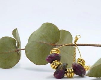 Rough Ruby Teardrop Necklace, 24k Gold Vermeil, July Birthstone Necklace, Boho Jewellery, Raw Gemstone Jewelry, 24k Gold Plated Silver