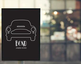 "Movie quote poster-James Bond ""Bond, James Bond""-illustration/typography/lettering"