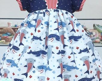 Summer Sailor Dress, Shark Summer Birthday, Girls Summer Dress, Girls Retro Dress, Pageant Wear OOC, Girls Spring Dress, Twirl Dress,