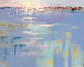 Abstract seascape painting, New Horizons by Jo Payne