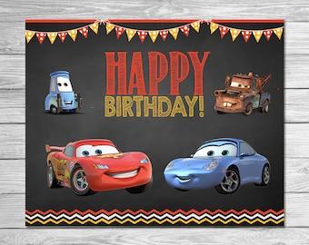 Disney Cars Birthday Sign Chalkboard - Lightning McQueen Birthday Sign - Disney Cars Printables - Cars & Disney Cars 3 Food Tents Chalkboard Set 3 Cars Food Label