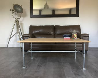 Industrial coffee table, shelf, foot flanges floor