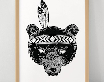 Indian Bear - Linocut Print - Limited Edition Poster