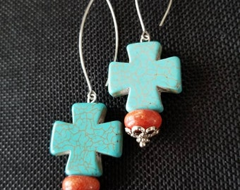maltese turquoise and coral ear baubles