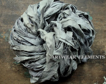 Pure Sari Silk, Medium Silver Gray Goose, Per Yard, Recycled Sari Silk, Fair Trade, Fabric, Ribbon, Yarn, Silk, ArtWear Elements, 302