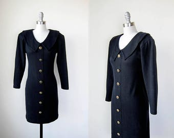 1990s vintage black gold button down knit long sleeve sweater dress m