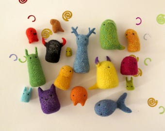 "Miniature monsters set of 16, Art collection ""My monsters guard me"", needle felted tiny wool toys, cute OOAK creatures, party-colored gifts"