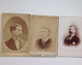Cabinet card photograph portraits (3) 1860's 1870's