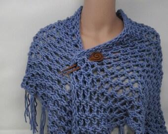 Handgefertigte Strickschal blau Spitze Fransen weibliche Erwachsene