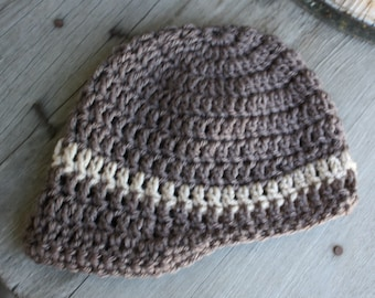 Baby Boy Crochet Hat with brim, dark brown with tan stripe. 6 to 9 mo.