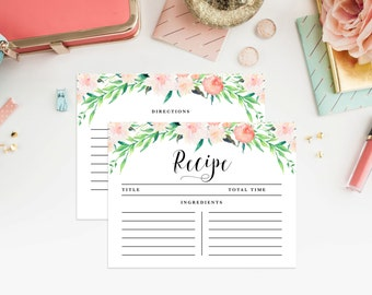 Instant Download - Delicate Bouquet Recipe Cards
