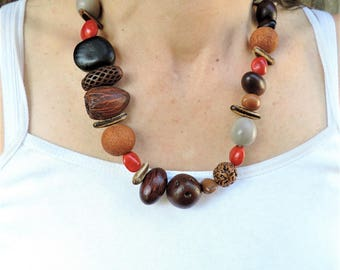 Bold Australian seedpod and wood necklace