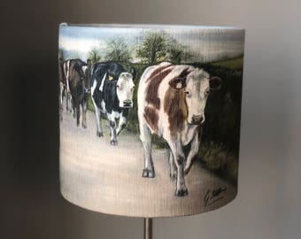 Friesian cows walking on road 30cm lampshade