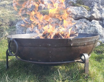 Indian Garden Fire Pit / Bowl / BBQ - Hand Made In India From Recycled Materials - Kadai Bowls 60cm, 70cm, 80cm - Fast & FREE UK Delivery