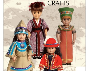 DOLL CLOTHES PATTERN / American Indian - Japan - Peru - Egypt Outfits / Fits American Girl Kaya / Retired