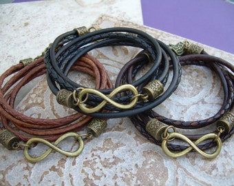 Triple Wrap Infinity Leather Bracelet with Antique Bronze Hardware, Infinity Bracelet, Infinity, Infinity Jewelry,Leather Bracelet,Bracelet,